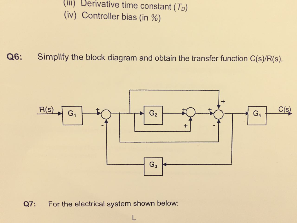 Solved Simplify The Block Diagram And Obtain Transfer Electrical System Question Function Cs Rs For