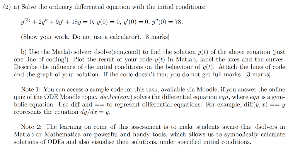 Solved 2 A Solve The Ordinary Differential Equation Wi