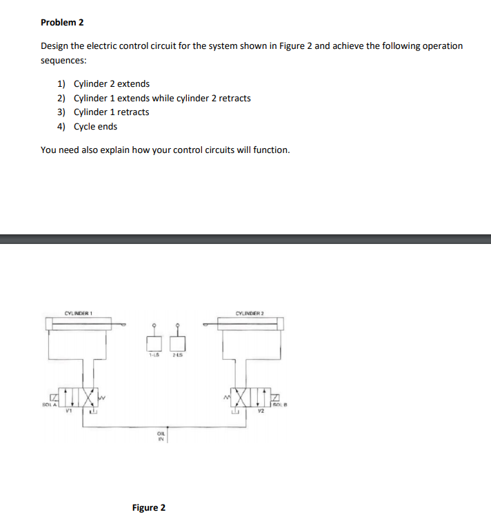 Solved: Problem 2 Design The Electric Control Circuit For ...