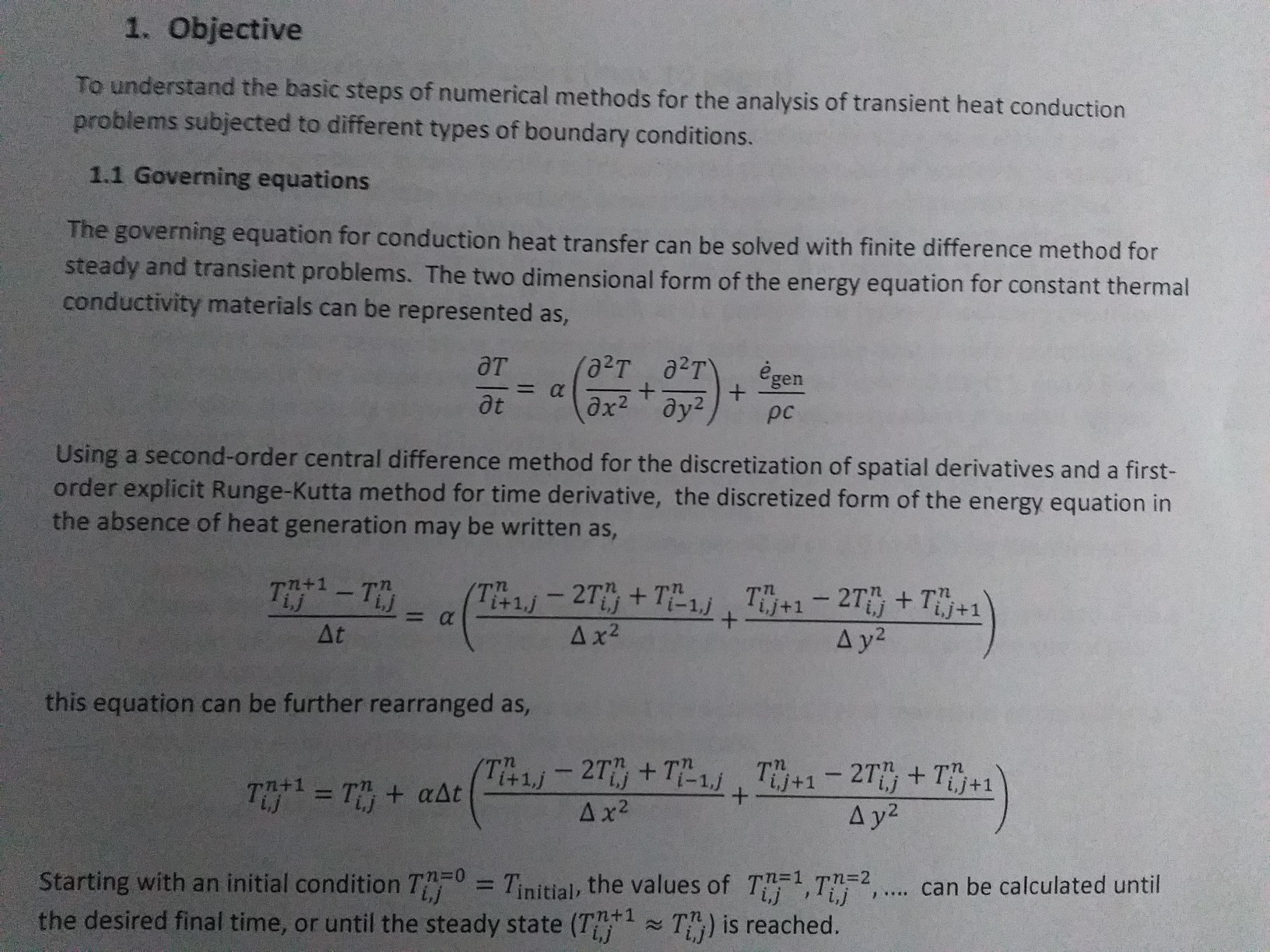 Solved: I Need To Know How To Solve A 1D Transient Heat Tr
