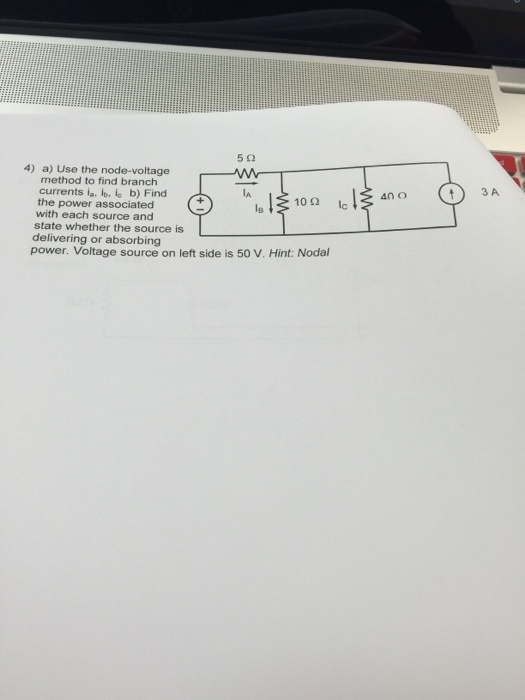 Use the node-voltage method to find branch current