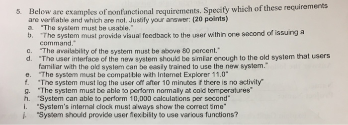 Solved Below Are Examples Of Nonfunctional Requirements