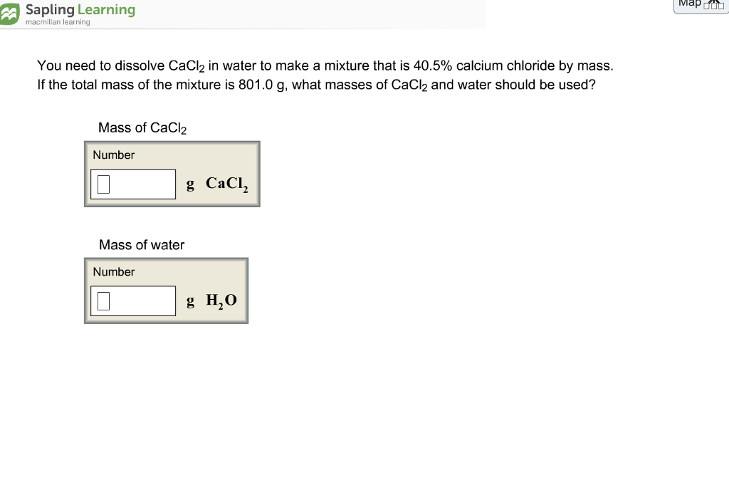 Chemistry archive february 10 2018 chegg map macmillan learning you need to dissolve cacl2 in water to make a mixture that is fandeluxe Images