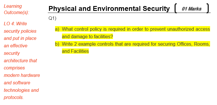 learning outcomes udrom physical and environmental securityr martes q1 lo 4