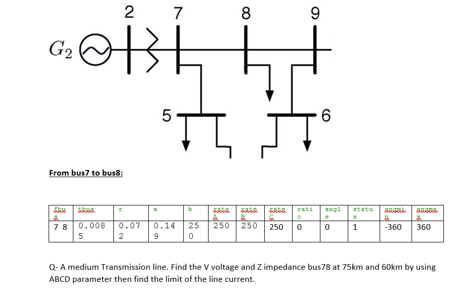 8 6 From bus7 to bus8: 7 8 0.008 0.070.1425 250 250 250 01 360 360 Q-A medium Transmission line. Find the V voltage and Z impedance bus78 at 75km and 60km by using ABCD parameter then find the limit of the line current.