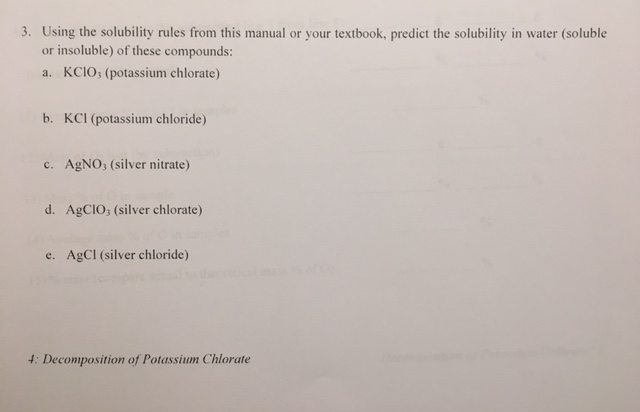 Solved: 3  Using The Solubility Rules From This Manual Or