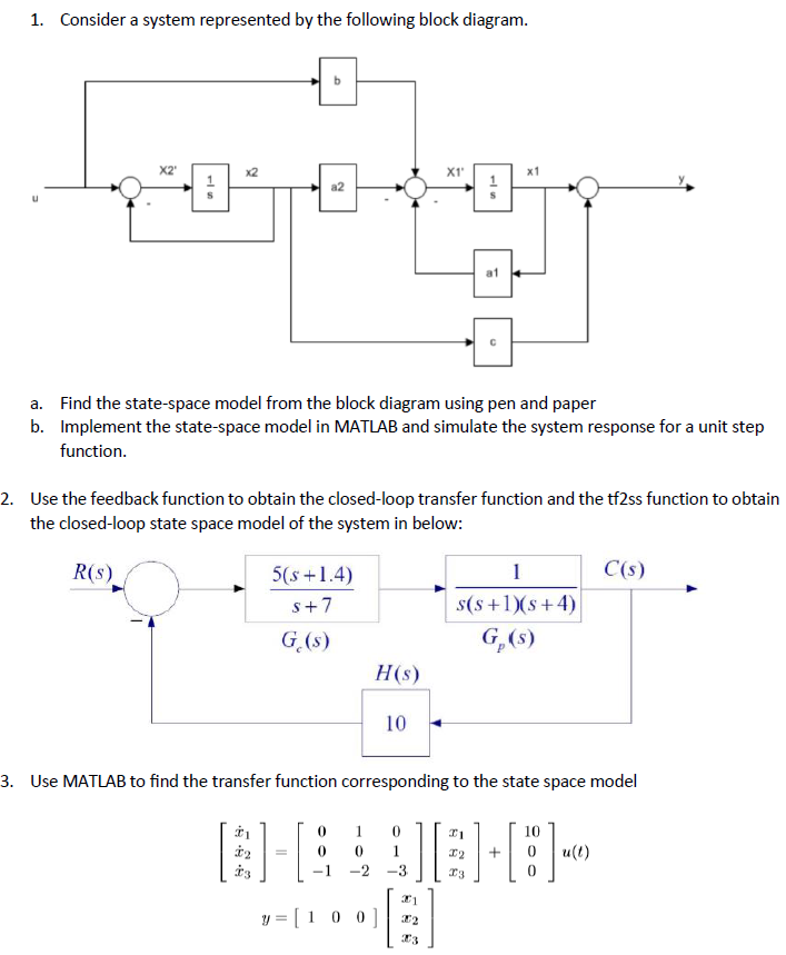 Solved 1 consider a system represented by the following consider a system represented by the following block diagram x1 x2 a1 find the ccuart Gallery