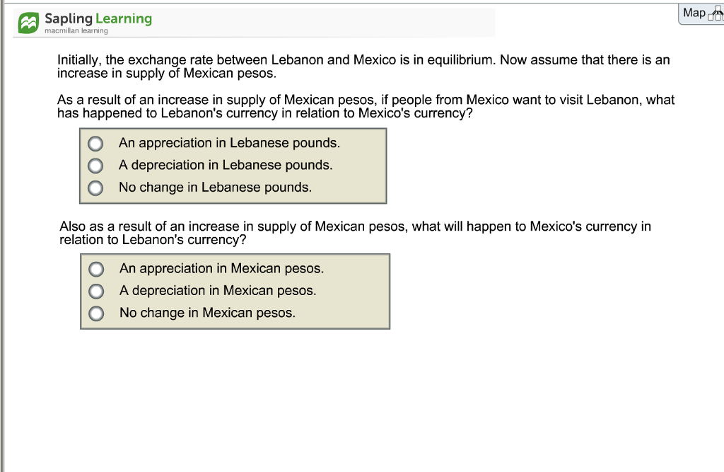 Economics archive february 08 2018 chegg map d sapling learning macmillan learning initially the exchange rate between lebanon and mexico is fandeluxe Images