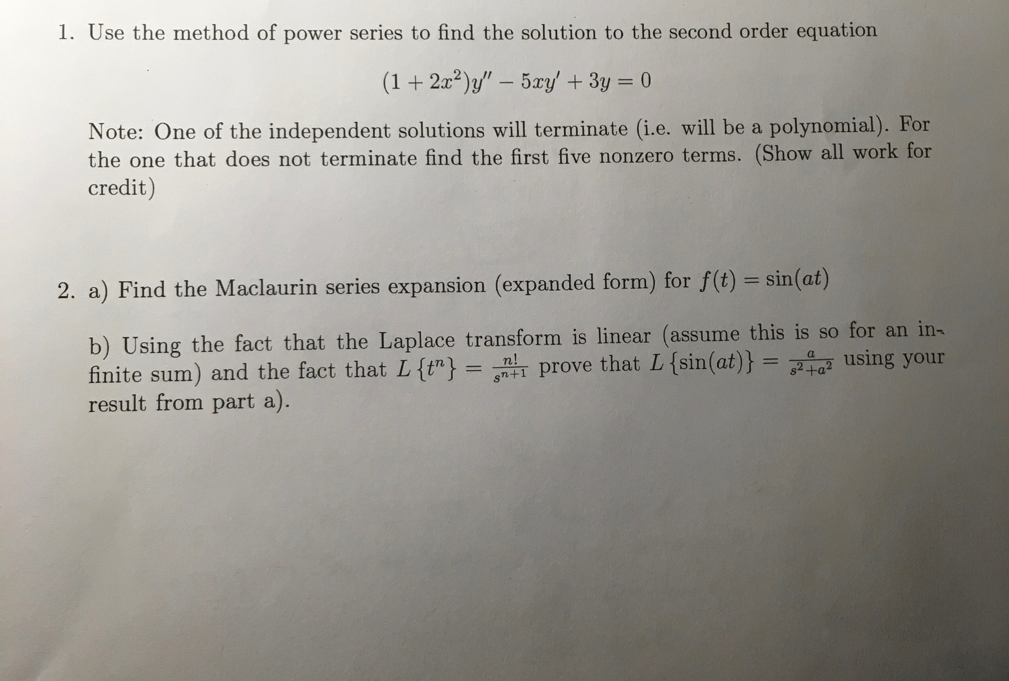 Other math archive november 06 2016 chegg use the method of power series to find the solutio falaconquin
