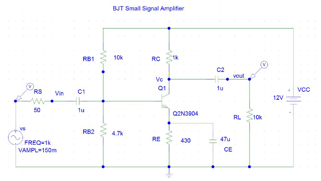 Solved ciruit 150mvp sine wave input 50mvp sine wave inpu bjt small signal amplifier 10k rb1 c2 vout vc q1 vcc vin c1 12v 50 150mvp sine wave input publicscrutiny Choice Image