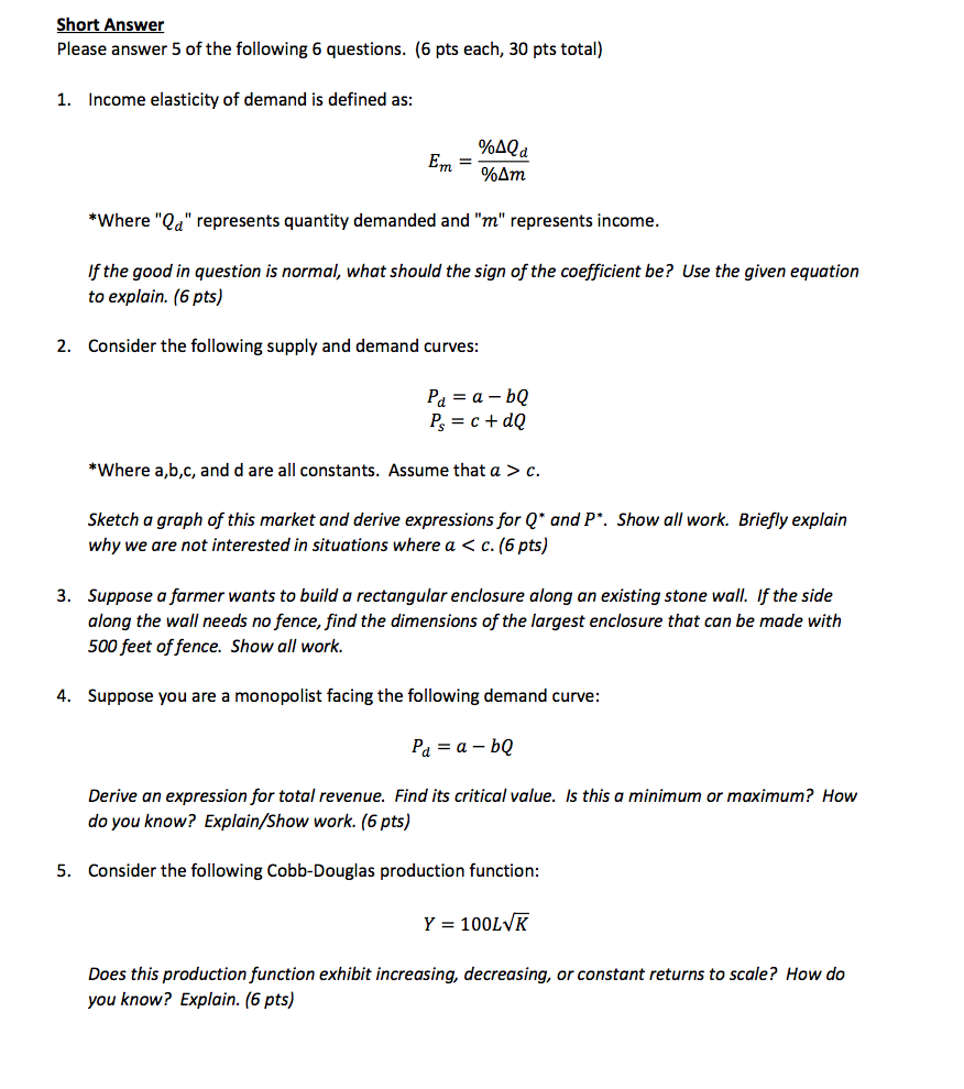 Solved Income Elasticity Of Demand Is Defined As E M