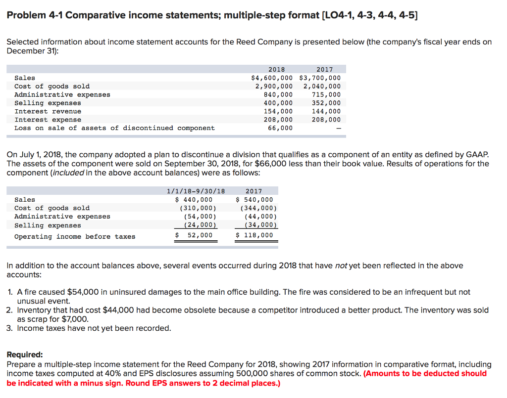 problem 4 1 comparative income statements multiple step format lo4 1