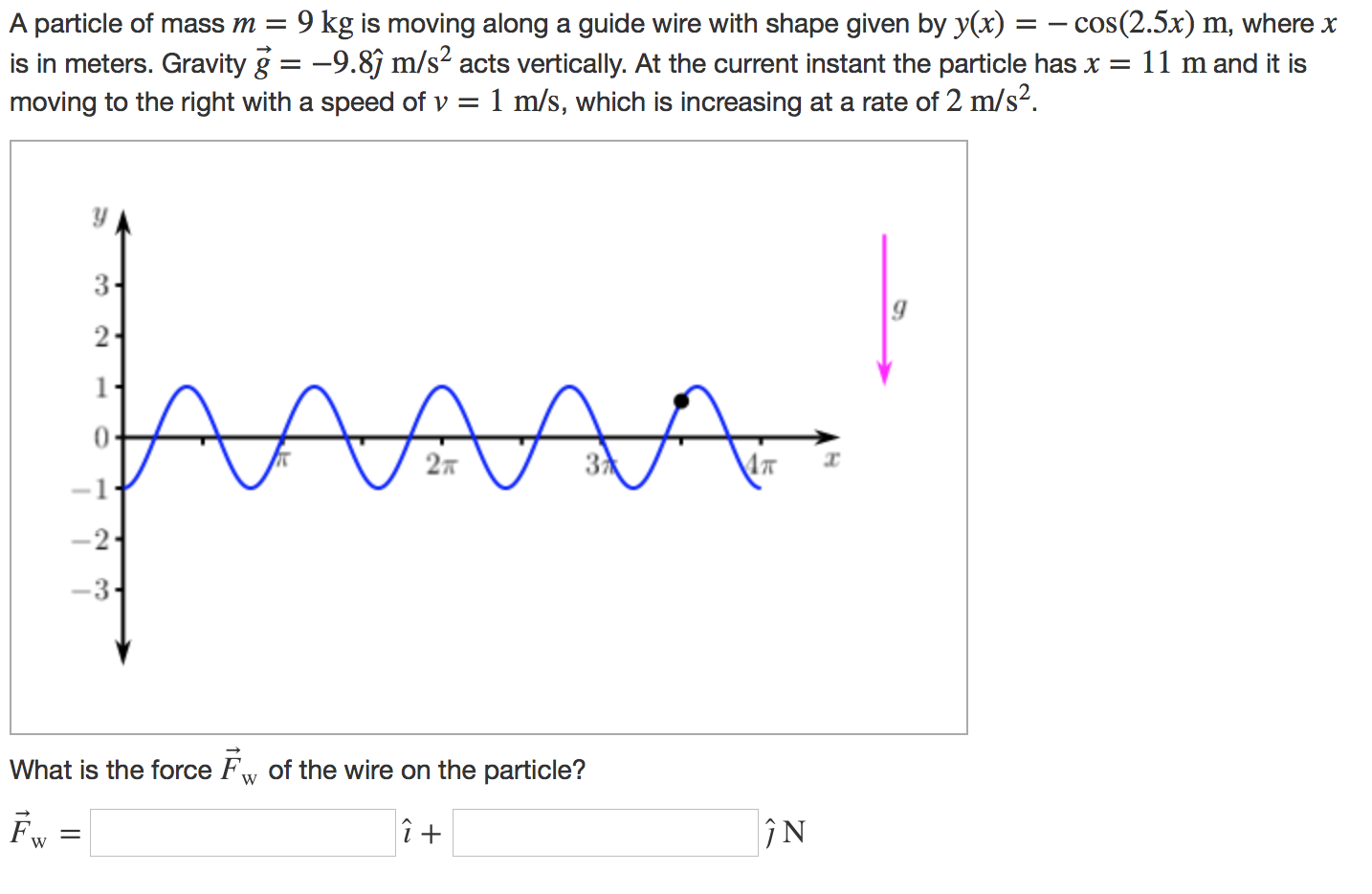 Solved: A Particle Of Mass M = 9 Kg s Moving Along A Guid...   Chegg.com