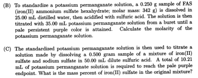standardization of potassium permanganate solution