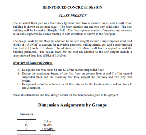 Solved: REINFORCED CONCRETE DESIGN CLASS PROJECT The Struc ...