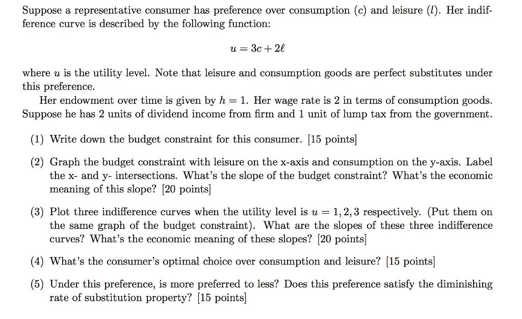 Solved Suppose A Representative Consumer Has Preference O