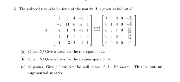 Solved: The Reduced Row Echelon Form Of The Matrix A Is Gi...   Chegg.com