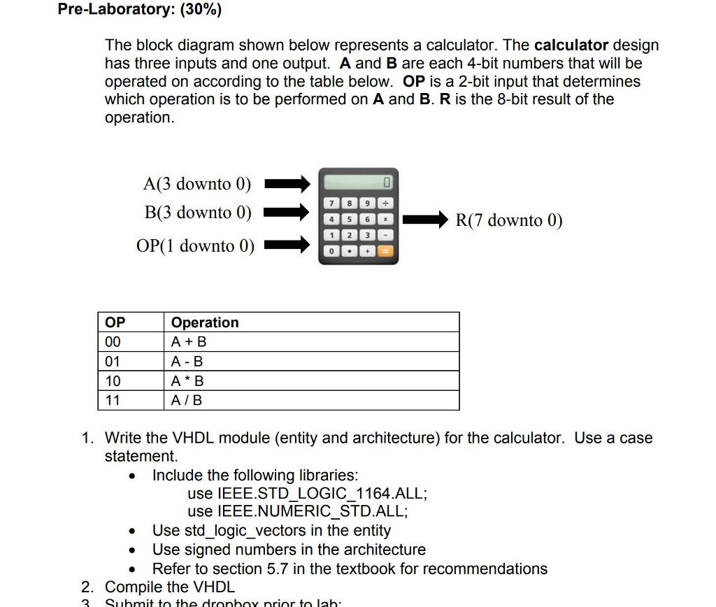 Solved pre laboratory 30 the block diagram shown belo pre laboratory 30 the block diagram shown below represents a calculator ccuart Gallery