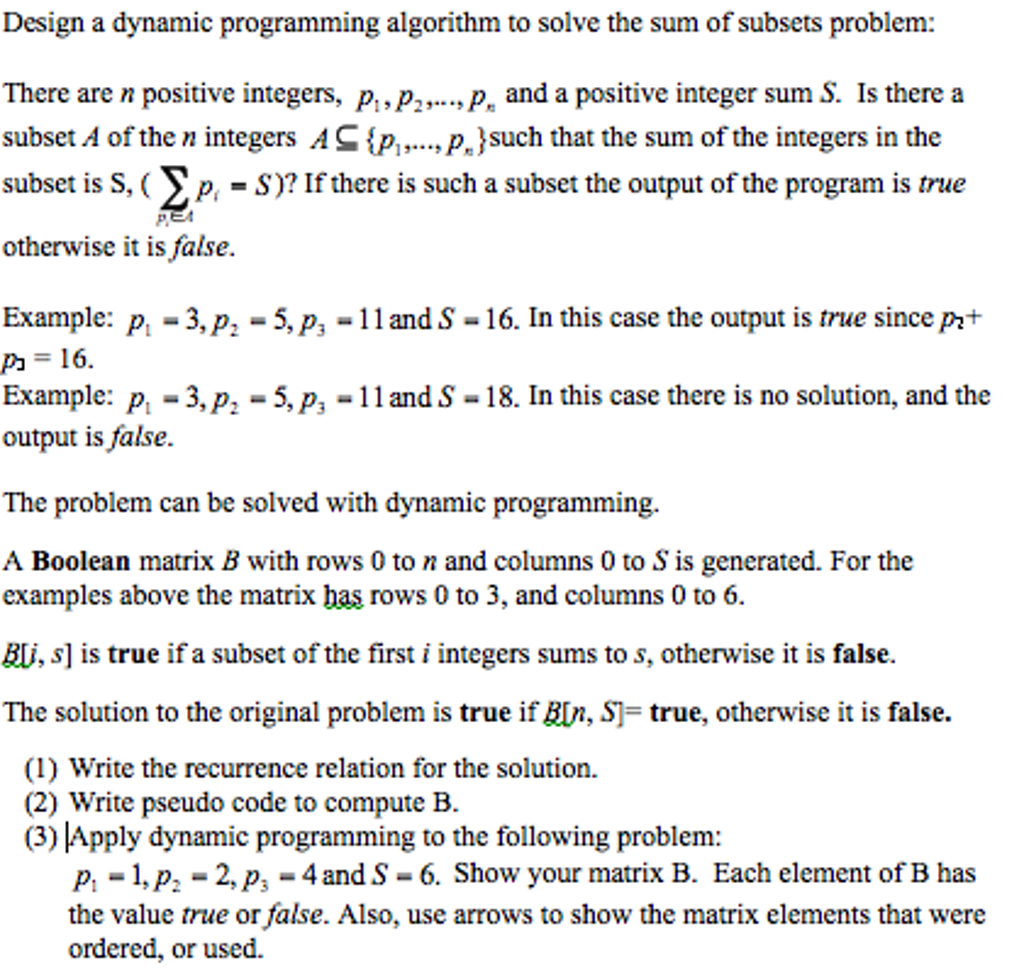 Solved Design A Dynamic Programming Algorithm To Solve Th