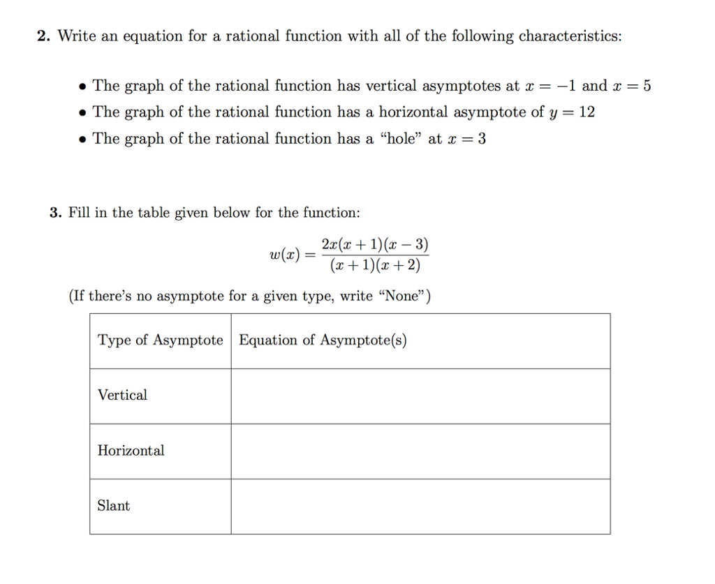 solved: 2. write an equation for a rational function with