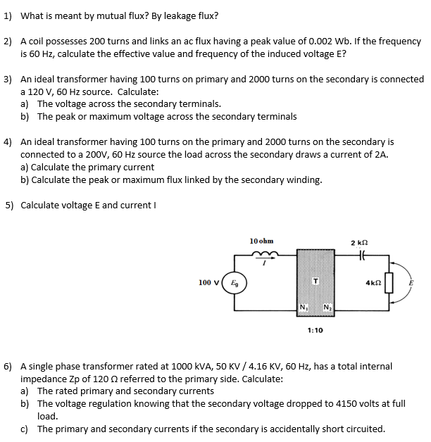 Solved 1 What Is Meant By Mutual Flux By Leakage Flux