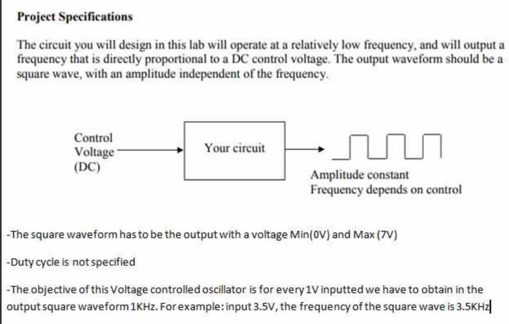solved project specifications the circuit you will design rh chegg com