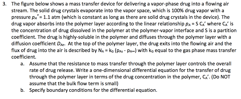 The figure below shows a mass transfer device for delivering a vapor-phase drug into a flowing air stream. The solid drug crystals evaporate into the vapor space, which is 100% drug vapor with a pressure pA 1.1 atm (which is constant as long as there are solid drug crystals in the device). The drug vapor absorbs into the polymer layer according to the linear relationship pA S CA where CA is the concentration of drug dissolved in the polymer at the polymer-vapor interface and S is a partition coefficient. The drug is highly-soluble in the polymer and diffuses through the polymer layer with a diffusion coefficient DAe. At the top of the polymer layer, the drug exits into the flowing air and the flux of drug into the air is described by NA kG (PAS PA) with kG equal to the gas phase mass transfer coefficient 3. Assume that the resistance to mass transfer through the polymer layer controls the overall rate of drug release. Write a one-dimensional differential equation for the transfer of drug through the polymer layer in terms of the drug concentration in the polymer, CA. (Do NOT assume that the bulk flow term is small) Specify boundary conditions for the differential equation. a. b.