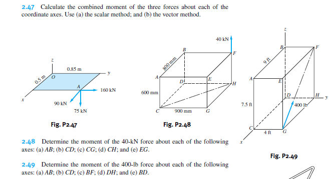 Solved: Calculate The Combined Moment Of The Three Forces