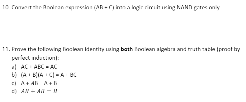 Convert The Boolean Expression AB C Into A Log