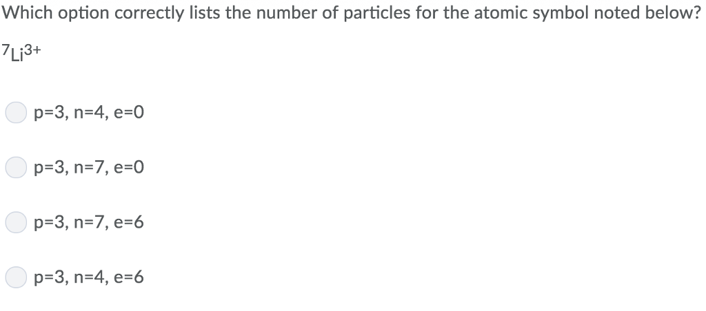Solved Which Option Correctly Lists The Number Of Particl