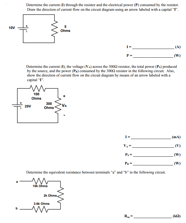 determine the current (i) through the resistor and the electrical power (p)
