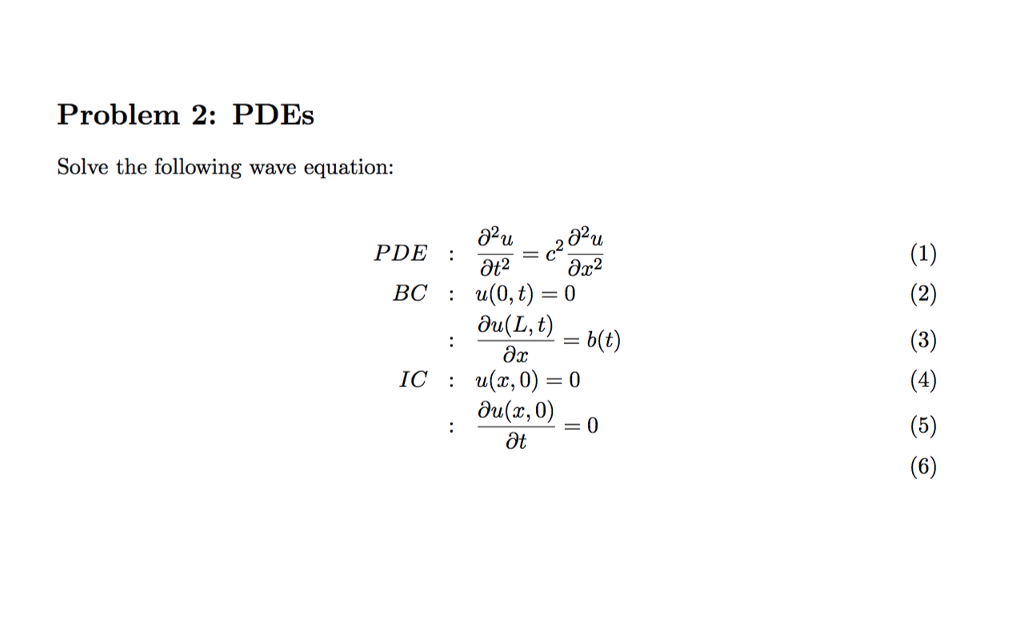 Solved: Solve The Following Wave Equation: PDE: Partial Di