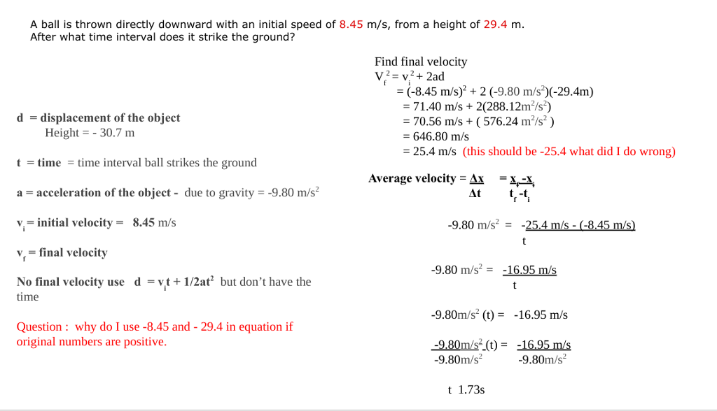 Physics archive february 04 2018 chegg 1 answer a ball is thrown directly downward with an initial speed of 845 ms fandeluxe Images