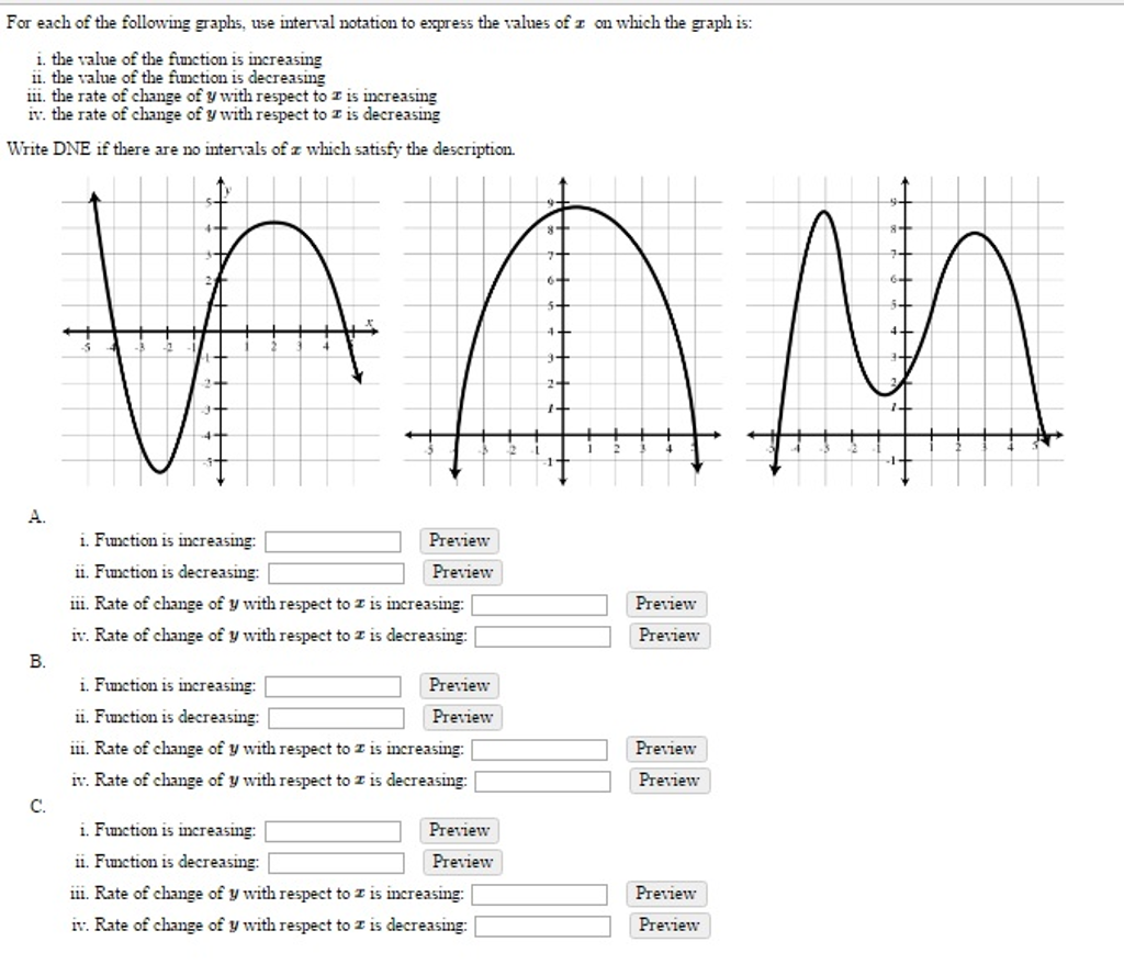 solved for each of the following graphs use interval not