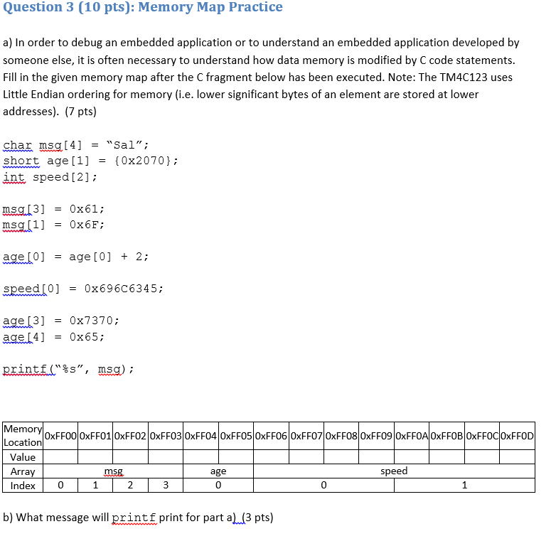 Question 3 (10 pts): Memory Map Practice a) In order to debug an embedded application or to understand an embedded application developed by someone else, it is often necessary to understand how data memory is modified by C code statements Fill in the given memory map after the C fragment below has been executed. Note: The TM4C123 uses Little Endian ordering for memory (i.e. lower significant bytes of an element are stored at lower addresses).(7 pts) char msq[4] Sal; short age [1] {0x2070}; int, speed [2]: msg [3] msg [1] 0x61; 0x6F; age [0] = age [0] + 2; speed [0] 0x696C6345; age [3] age [4] = 0x7370; = 0x65; printf(%s, msg); Mem Location 0xFF00lOxFF01 0xFF02 0xFF03 0xFF04 0xFF05 0xFF06 0xFF07 0xFF08 0xFF09 0xFFOAlOxFFOB 0xFFOCIOxFFOD Value ms age speed Index0 0 0 1 b) What message will printf print for part a)(3 pts)