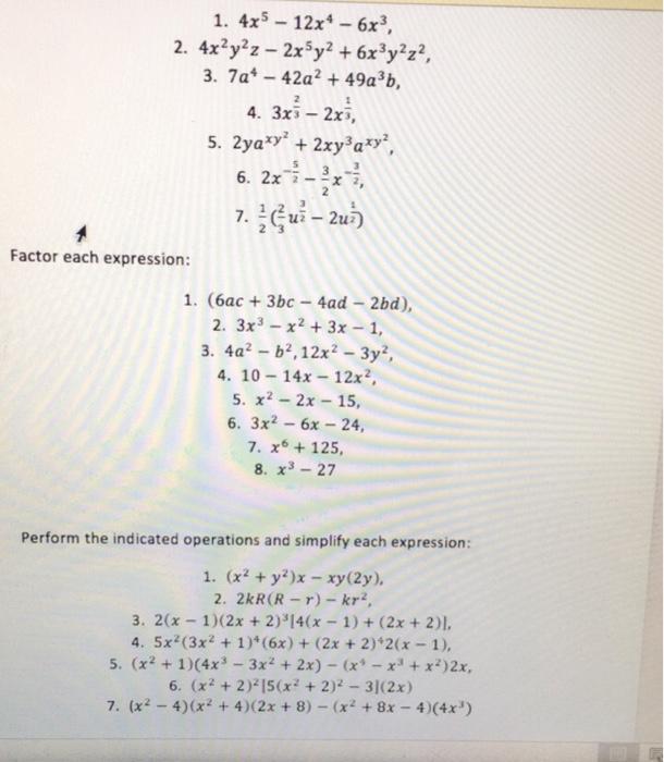 Solved 4x5 12x4 6x3 4x2y2z 2x5y2 6x3y2z