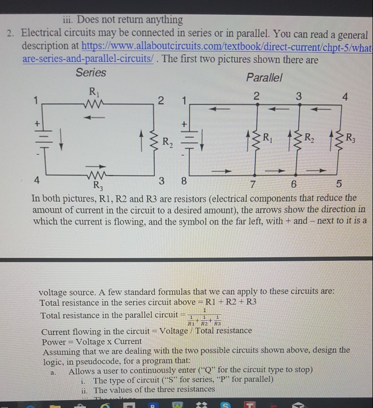 Solved: Ii. Does Not Return Anything 2. Electrical Circuit ...
