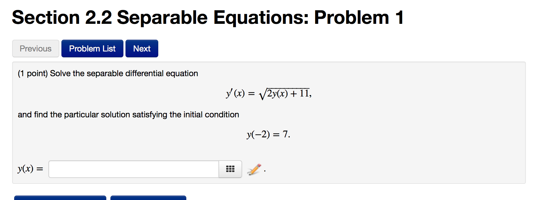 Solved: (1 Point) Solve The Separable Differential Equatio