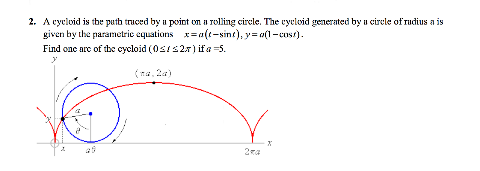Solved: (MULTIVARIABLE CALCULUS) A Cycloid Is The Path Tra