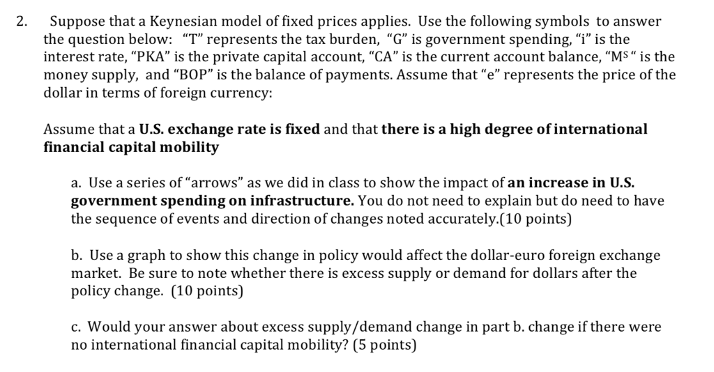 Solved 2 Suppose That A Keynesian Model Of Fixed Prices