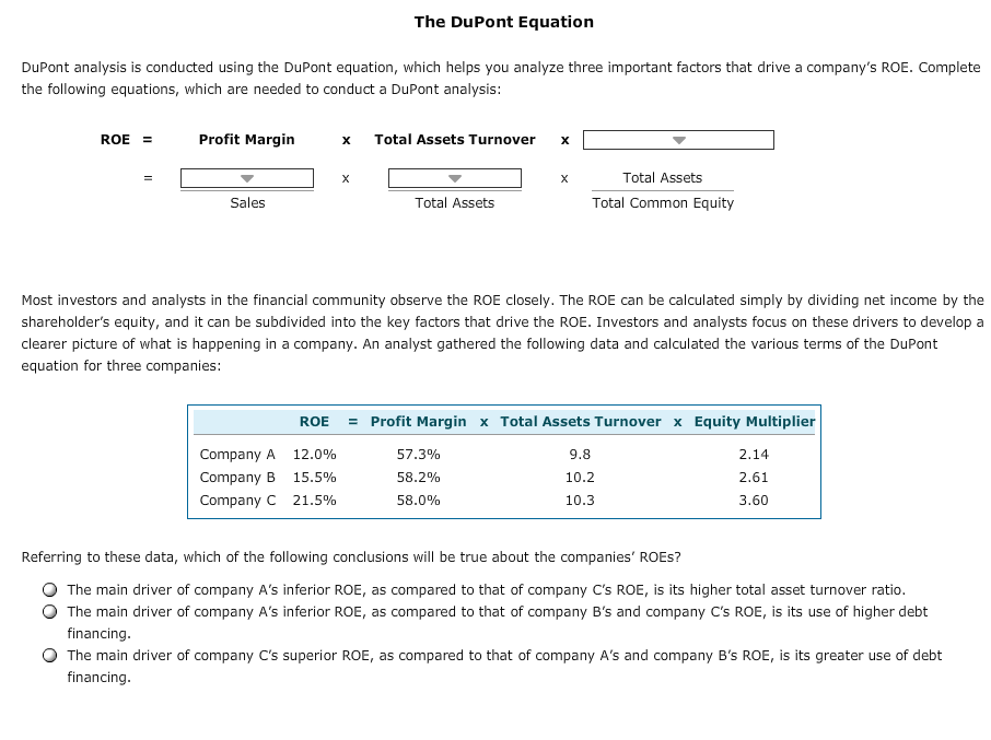 dupont model analysis Map your financial health with an excel dupont dashboard your return on equity ratio is a key indicator of financial health this report lets you show the components of that ratio in a unique excel display.