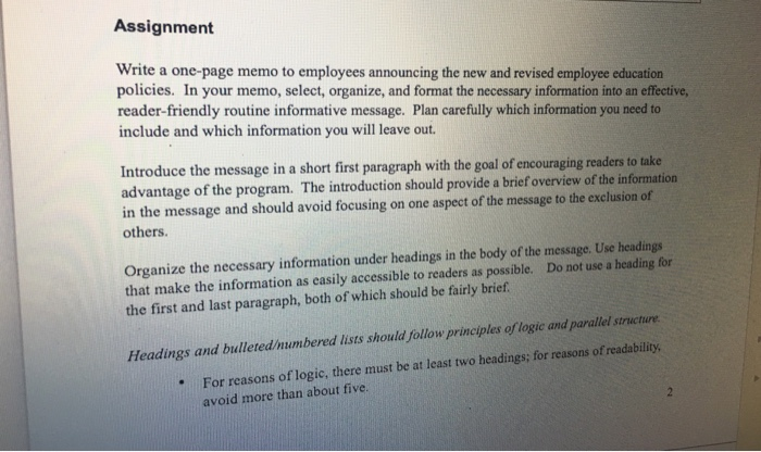 write a one page memo to employees announcing the