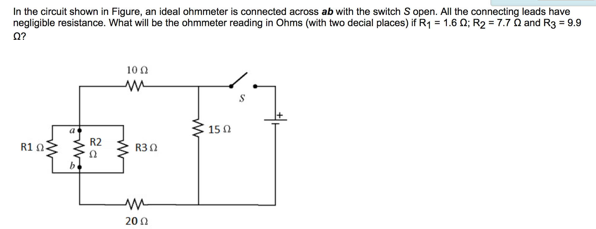 Solved In The Circuit Shown In Figure An Ideal Ohmmeter