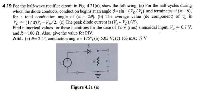 For the half-wave rectifier circuit in Fig. 4.21(a