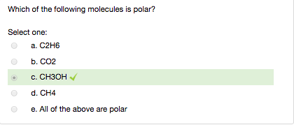 Solved Which Of The Following Molecules Is Polar I Have Chegg Com