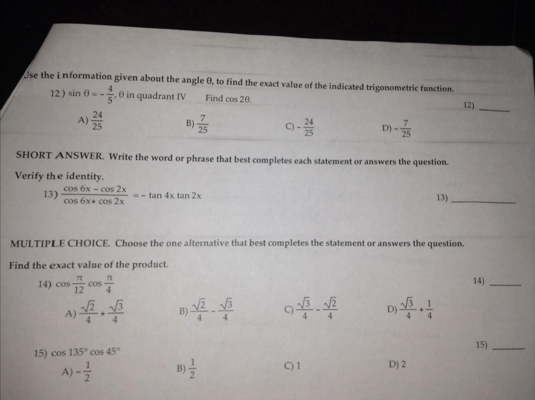 Solved: Trigonometric Functions / Precalculus Problems Ple ...