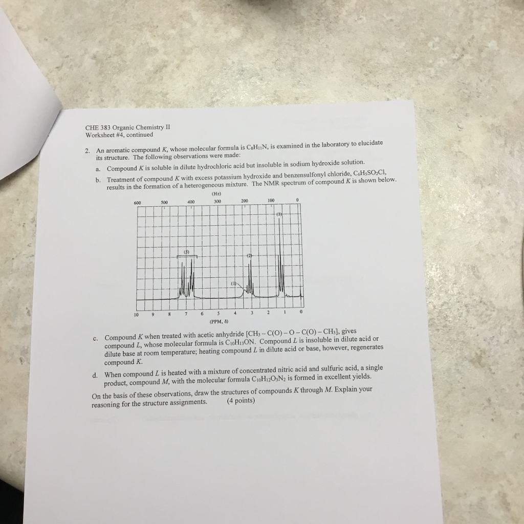 Solved Che 383 Organic Chemistry Worksheet 4 Continued