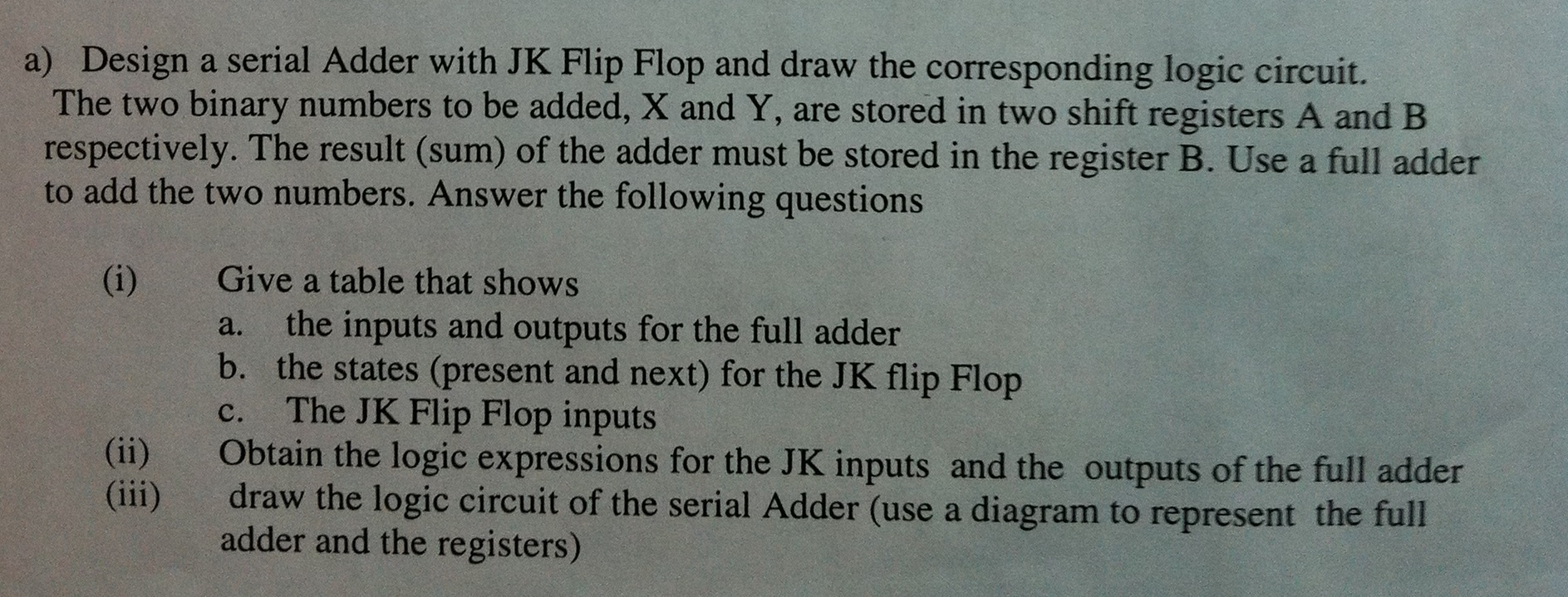 Solved Design A Serial Adder With Jk Flip Flop And Draw T Logic Diagram Of Full