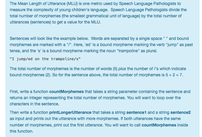 Solved The Mean Length Of Utterance Mlu Is One Metric U