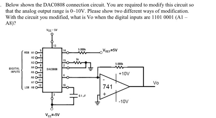 Solved: Below Shown The DAC0808 Connection Circuit. You Ar ...